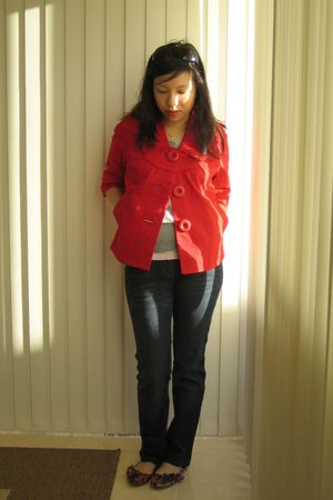 red seed jacket - red nose shoes - blue sass & bide jeans - silver PDI sweater -