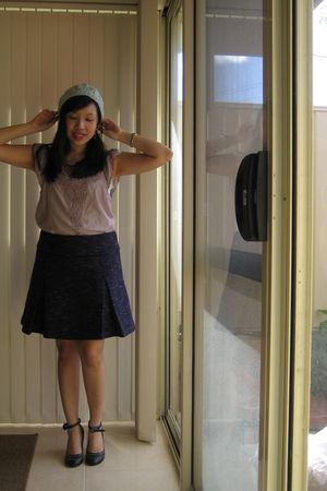 beige Tokito blouse - purple portmans skirt - black Charles & Keith shoes - gree