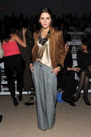 brown blazer - gold blouse - gray pants