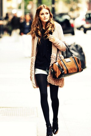 bag - cardigan - heather gray pants