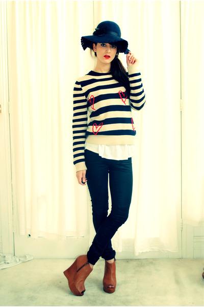 Witchery jeans - floppy Forever New hat - peep toe tony bianco wedges