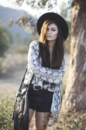 black fringe naughty monkey boots - black black hat - white snake Tobi shirt