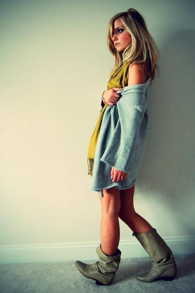 gray sweater - green basic scarf - beige vintage boots - white dress