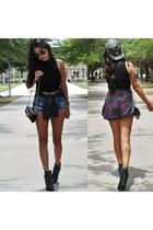 silver asos hat - black Nasty Gal boots - crimson Forever 21 shirt