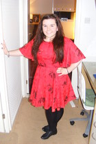 black River Island shoes - red vintage dress - black H&M tights