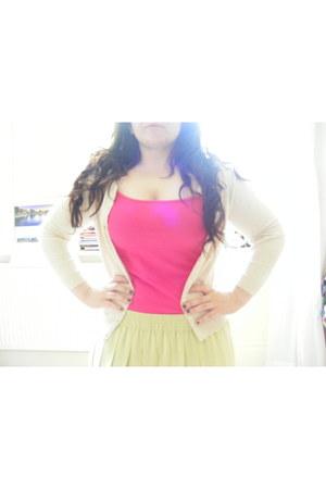 hot pink Primark vest - lime green vintage skirt - eggshell Primark cardigan