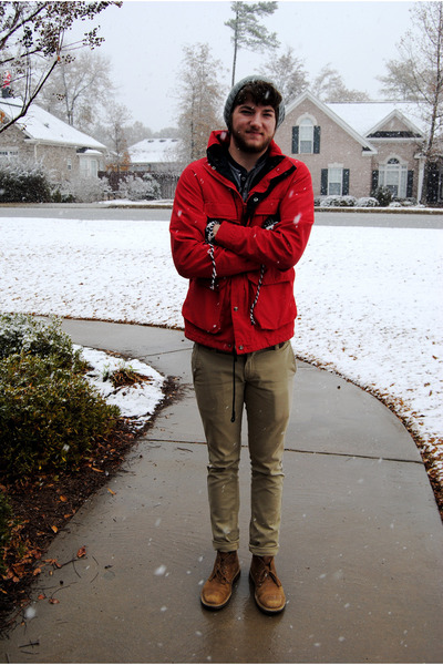 heather gray Old Navy hat - navy Gap shirt - red All Son jacket - dark khaki Lev