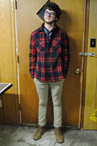 dark brown Generic glasses - navy Gap shirt - red All-Son jacket - dark khaki Le