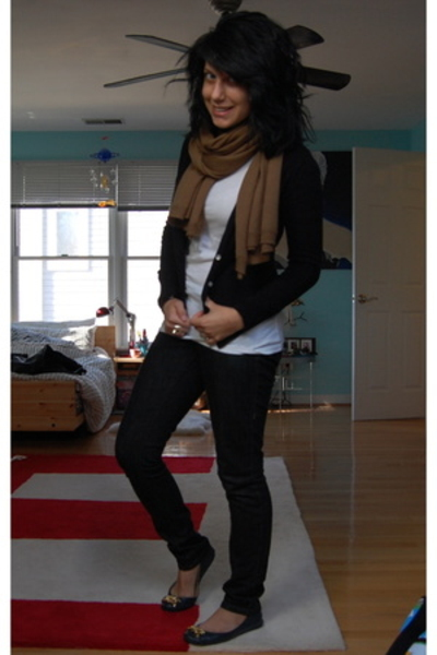 H&M scarf - Target shirt - wal-mart sweater - Levis jeans - sam edelman shoes