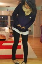 H&M scarf - Gap blazer - Hanes shirt - so low leggings pants - sam edelman shoes