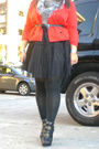 Black-forever-21-dress-red-vintage-jacket-black-target-tights-gray-lovecul