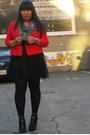 Black-forever-21-dress-red-vintage-jacket-black-target-tights-gray-lovecul