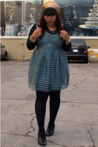 green H&M dress - black Target shirt - black Target tights - black Aldo shoes -