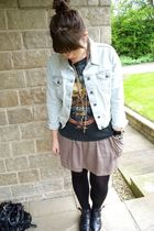 Topshop jacket - black Metallica t-shirt - beige asos skirt - black Urban Outfit