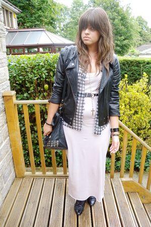 pink Topshop dress - urban outiftters blouse - black River Island jacket - black
