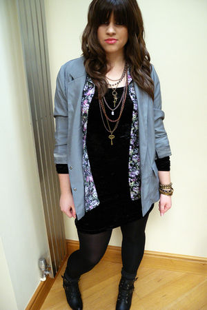black Mango dress - silver Topshop blazer - black Urban Outfitters shirt