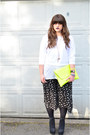 Yellow-neon-clutch-asoscom-bag-black-floral-culottes-urban-outfitters-shorts