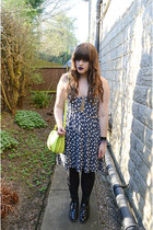 black asoscom boots - navy asoscom dress - yellow neon Aldo bag
