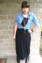 black asos dress - blue Topshop shirt - asos necklace - new look jacket - black