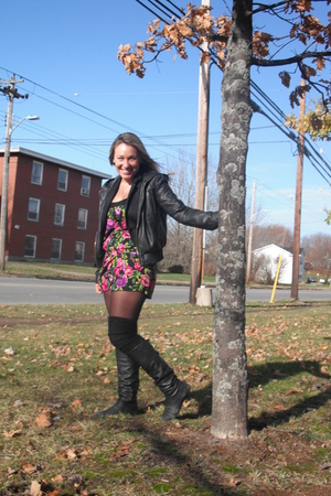 H&M blazer - H&M jacket - Drug store tights - H&M dress - calvin klein stockings