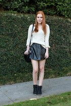 black leather Goodnight Macaron skirt - beige knitted Zara sweater