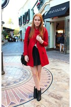 ruby red red Lulus coat - black ankle boots Bianco boots