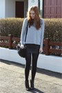 Silver-knit-h-m-sweater-black-leather-forever21-skirt