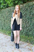 camel leather details Zara jacket - black ankle boots Bianco boots