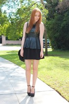 black peplum Choies top - black flared H&M dress - black wedges Ebay wedges