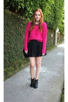 black ankle boots Bianco boots - hot pink neon GoodNight Macaroon sweater