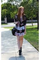 black floral Arnhem dress - black ankle boots Bianco boots