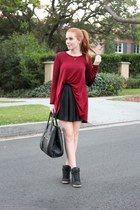 black flared OASAP skirt - ruby red burgundy Lakkalakk sweater