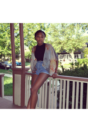 black American Apparel top - light yellow Urban Outfitters cardigan