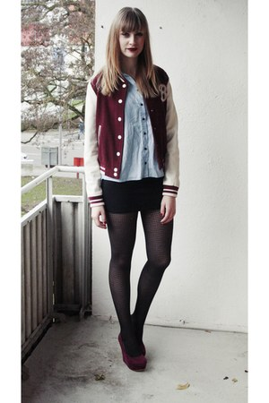 crimson college jacket H&M jacket - black H&M leggings - black H&M skirt