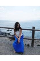 blue Stradivarius skirt - silver Stradivarius bracelet - white Zara top
