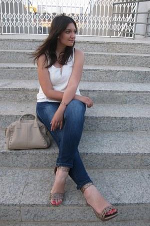 camel Primark bag - navy Venca jeans - blue Stradivarius blazer