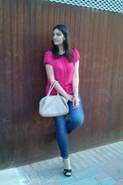 beige Primark bag - hot pink Primark blouse - black Stradivarius heels