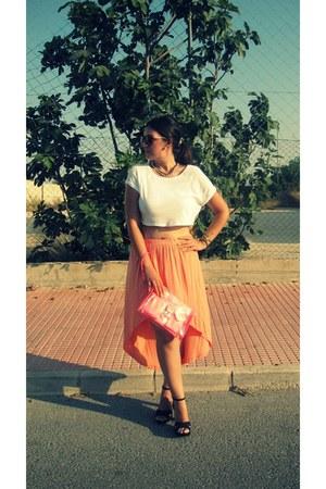 carrot orange Lefties skirt - hot pink Stradivarius bag