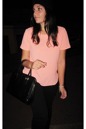 black Givenchy bag - salmon Primark t-shirt - bronze Marypaz wedges