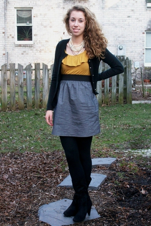 gray Target dress - black New York and Company sweater - black Target leggings -