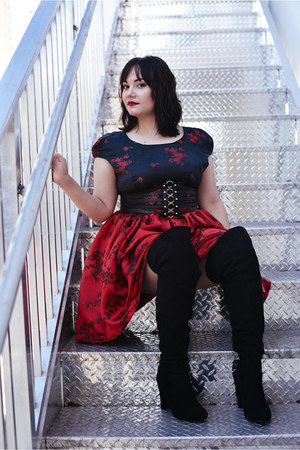 black lola shoetique boots - ruby red Custom Designs by Alice Marie dress