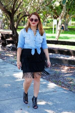 light blue Target shirt - black Nine West boots - black Alice Marie skirt