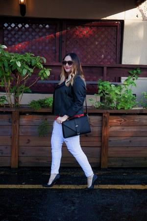 black ann taylor jacket - white jeans - black If Chic bag