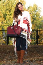 cream H&M coat - tawny Stradivarius boots - navy H&M jeans - brick red Zara bag