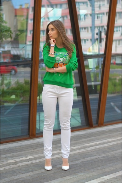 green Kenzo blouse - white F&F pants