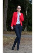 red H&M jacket - blue F&F jeans - light blue Stradivarius shirt