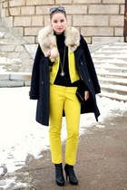yellow H&M jacket - yellow H&M pants - black H&M heels