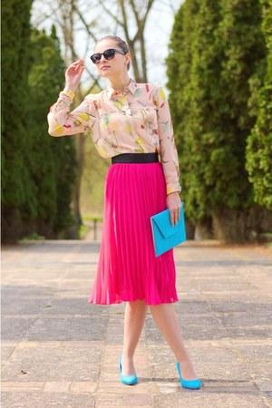 hot pink H&M shirt - aquamarine H&M heels