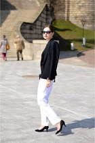 white second hand pants - black F&F jacket - black H&M bag