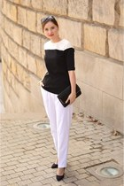 black carry blouse - white second hand pants - black H&M heels